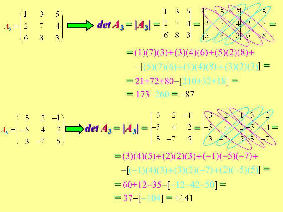 det A3 = |A3| = = = = = 21+72+80[210+32+18] = = 173260 = 87 =